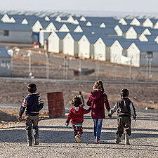 Syrian refugees in a refugee camp in Azraq, Jordan. © CARE