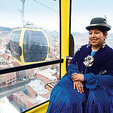 Sabina Pacozillo sitting in a cable car.
